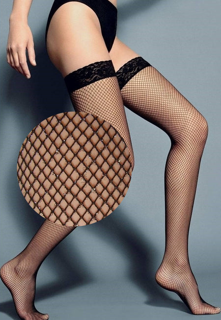 Luna Mock Hold-Ups Fishnet & Opaque Tights by Veneziana