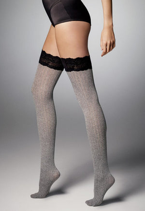 Ar Costina Cable Ribbed Opaque Hold-Ups by Veneziana in grey marl