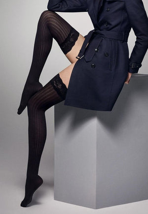 Ar Costina Cable Ribbed Opaque Hold-Ups by Veneziana in black