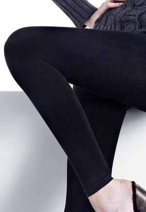 Arctica 250 Den Cotton & Wool Opaque Leggings by Marilyn in black