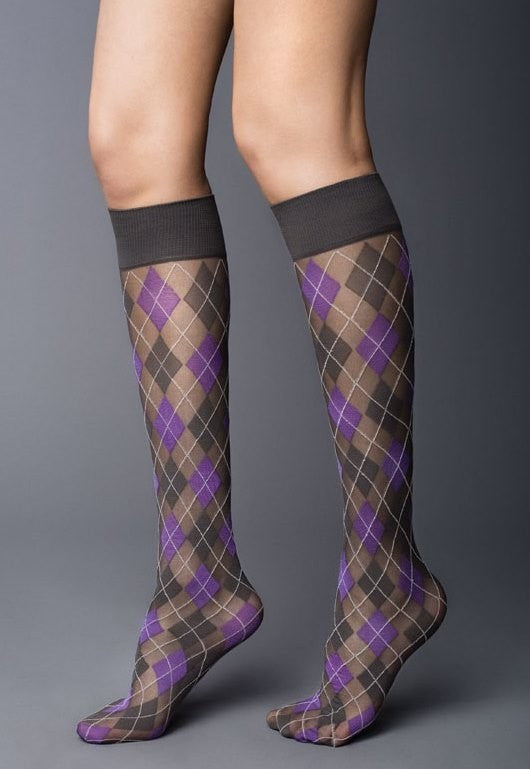 Argyle Patterned Sheer Knee-High Socks by Veneziana