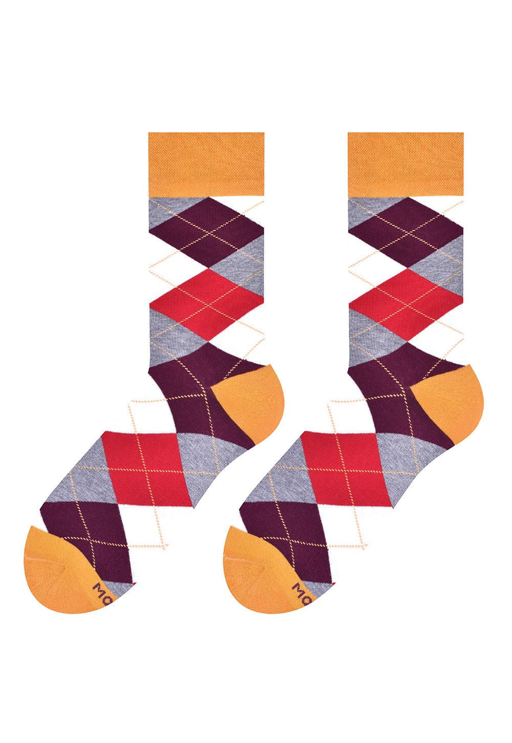 Argyle Patterned Socks in Burgundy, Red, White, Grey, Yellow by More