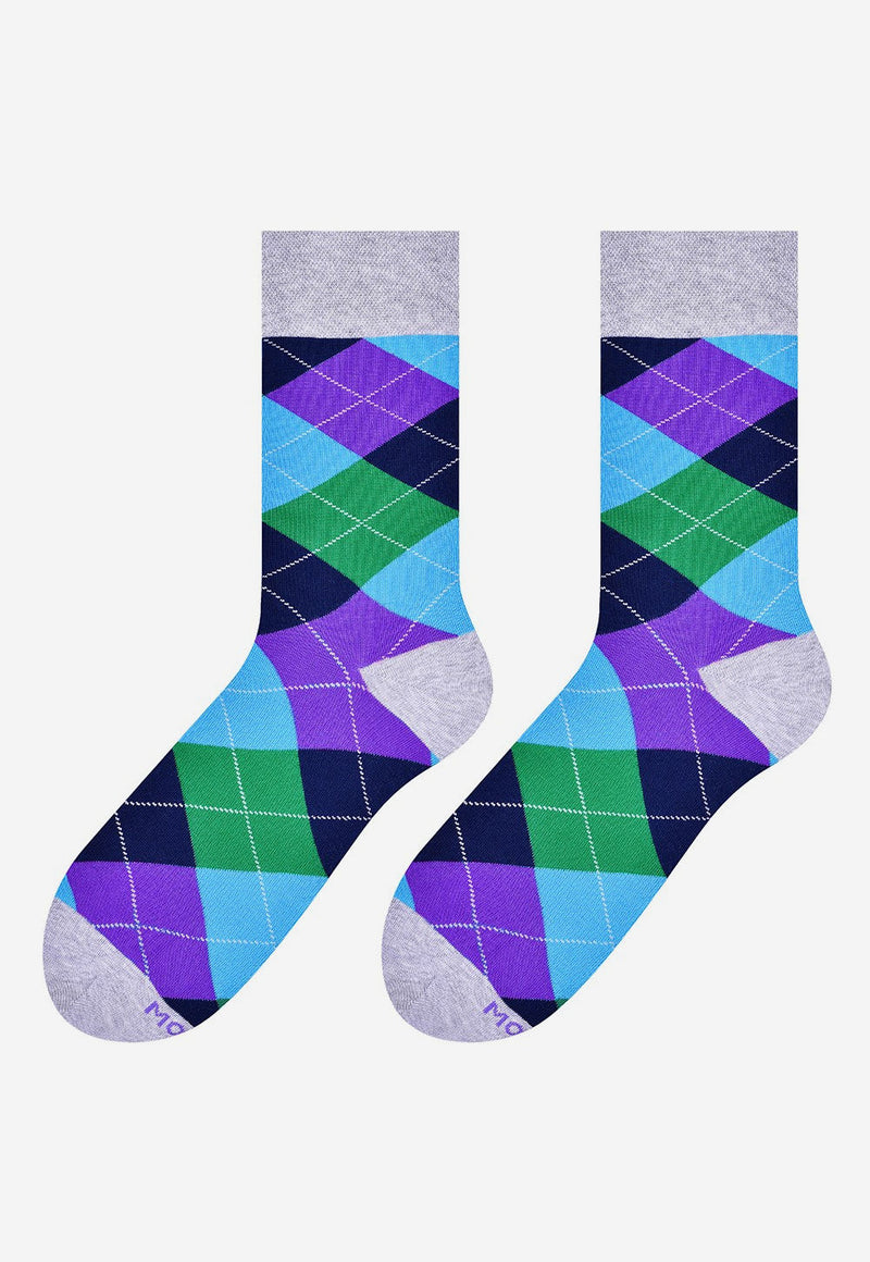 Argyle Patterned Socks in Purple, Green, Black, Grey & Turquoise by More