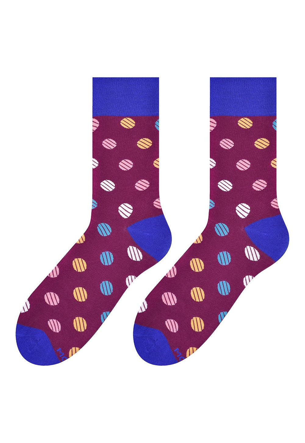 Striped Dots Patterned Socks in Burgundy by More in burgundy maroon red