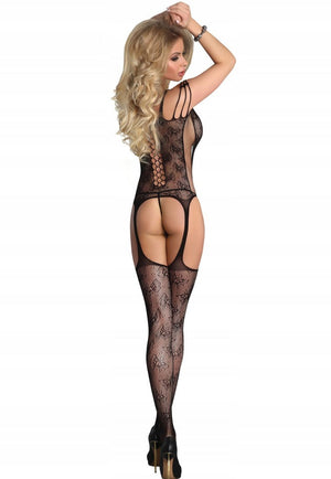 Bansari Floral Lace-Up Suspender Bodystocking by LivCo in black
