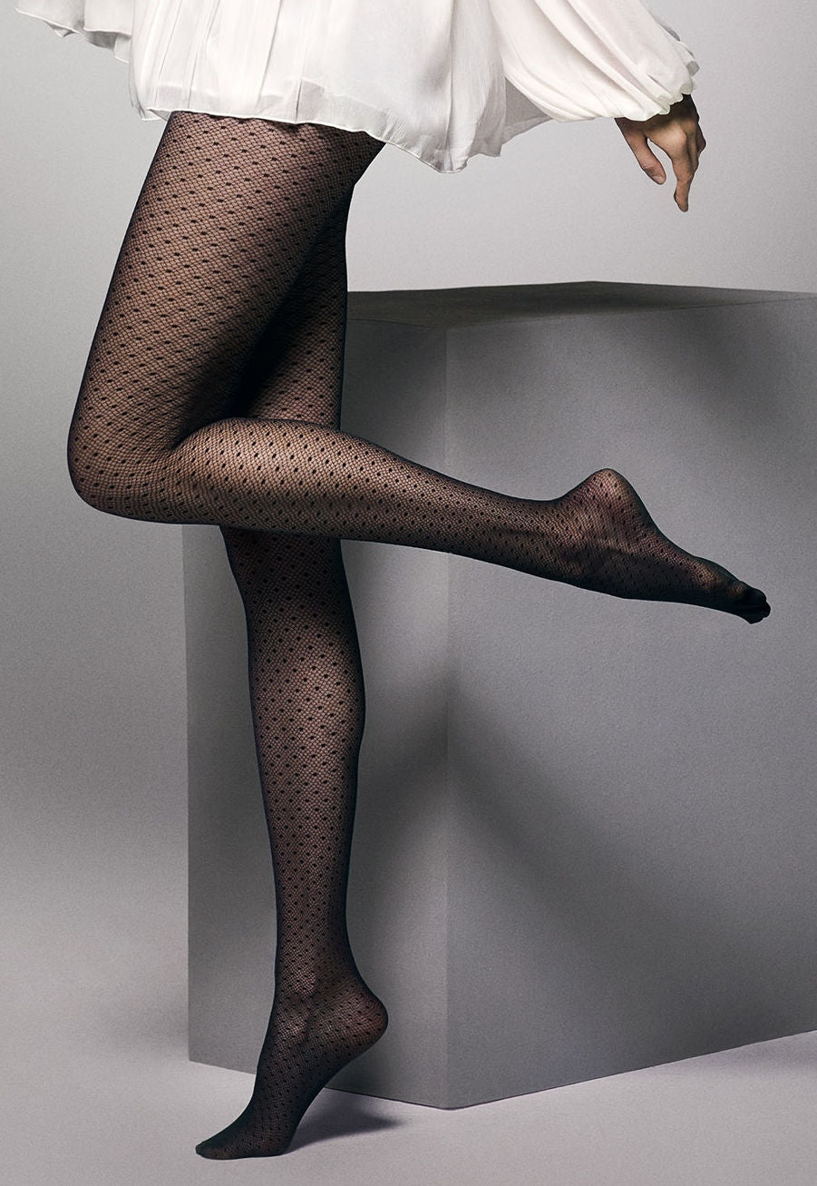 Beatrice Dotted Net Sheer Tights by Veneziana