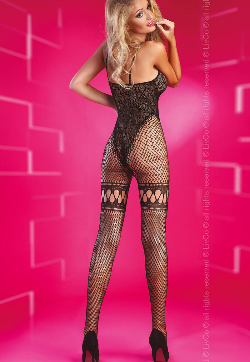 Beatriz Floral Lace Bodice Fishnets Bodystocking by LivCo in black