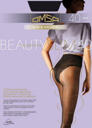 Beauty Slim 40 Den Control Top Sheer Tights by Omsa in black
