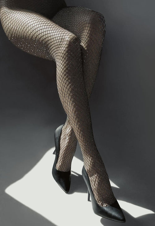 Bella Sparkly Silver Lurex Wide Fishnet Black Tights