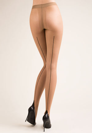 Bella Contrast Backseam Sheer Tights by Gabriella in nude tan, black