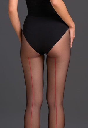 Bella Contrast Backseam Sheer Tights by Gabriella in black red
