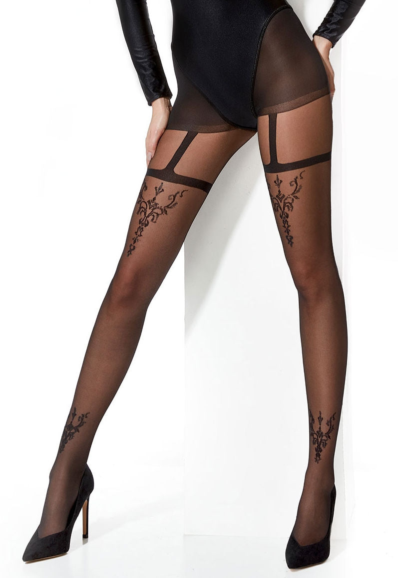 Bernadette Baroque Detail Suspender Sheer Tights by Adrian in black