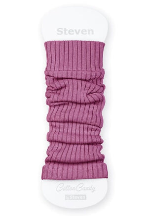 Ribbed Cotton Kids' Leg Warmers by Steven in berry pink