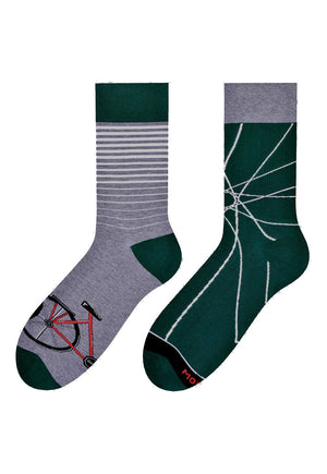 Bicycle Odd Patterned Socks in Dark Green & Grey by More