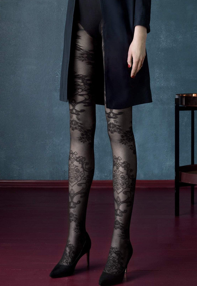 fdc3c0a0f6 Black Dahlia Floral Baroque Patterned Tights by Fiore