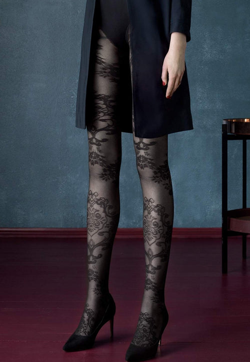 Black Dahlia Floral Baroque Patterned Tights by Fiore