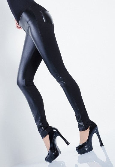 Black Leggings with Leather Look Front & Pockets