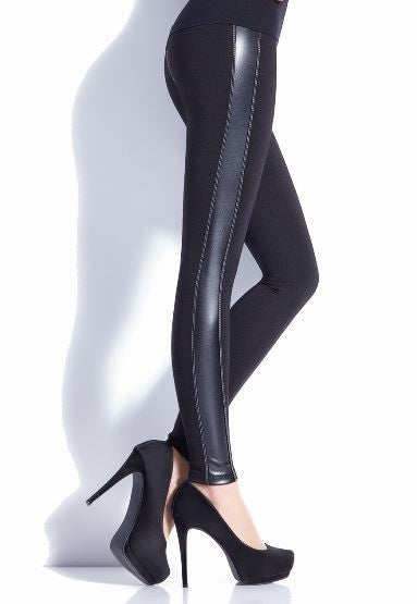 Black Leggings with Side Stripe Leather Look Insert