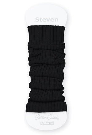 Ribbed Cotton Kids' Leg Warmers by Steven in black