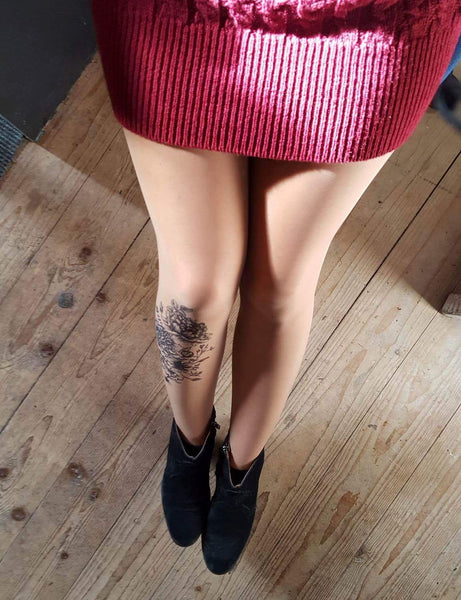 Black Garden Tattoo Printed Sheer Tights/Pantyhose