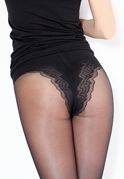 Body Modelling 40 Den Lace Brief Sheer Tights by Giulia