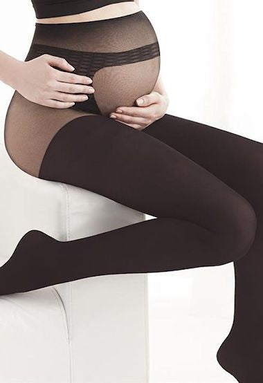Body Protect 100 Denier Opaque Maternity Tights by Gatta in Black