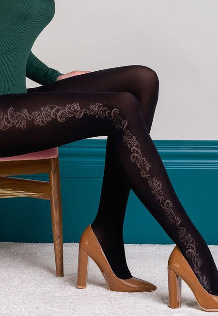 Lorien 11 Fine Herringbone Patterned Tights by Gatta