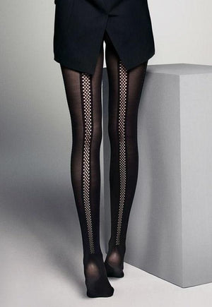 Brianna Black Dotted Sheer Seams Opaque Tights by Veneziana