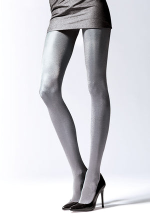 Brilliance 50 Den Metallic Glossy Opaque Tights by Knittex in silver