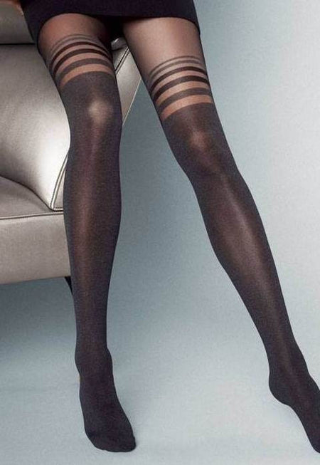 Piega Colourblock Over-Knee Sock Tights by Fiore