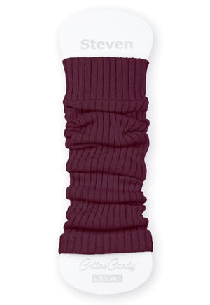 Ribbed Cotton Kids' Leg Warmers by Steven in burgundy maroon red