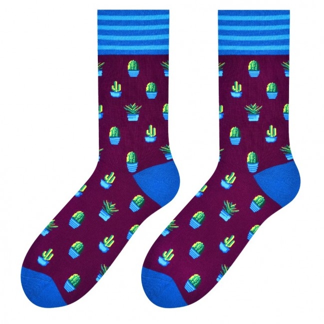 Cactus Socks in Burgundy by More
