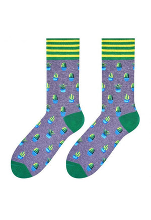 Cactus Patterned Socks in Grey & Green by More