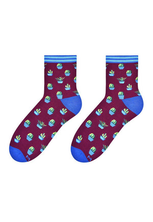 Cactus Patterned Socks in Burgundy & Blue by More