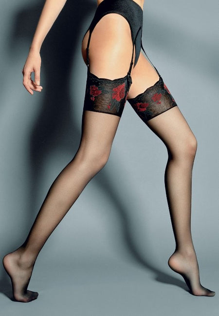 Madame 20 Den Contrast Seam Sheer Stockings by Fiore