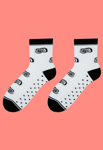 Camera Patterned Socks in Black & White by More