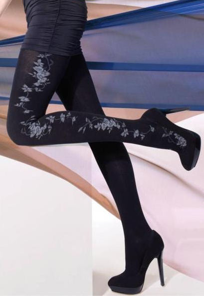 Cara 31 Flower Patterned Cotton Tights by Gatta in black grey