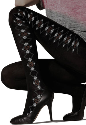 Carena 07 Diamond Patterned Cotton Tights by Gatta in black
