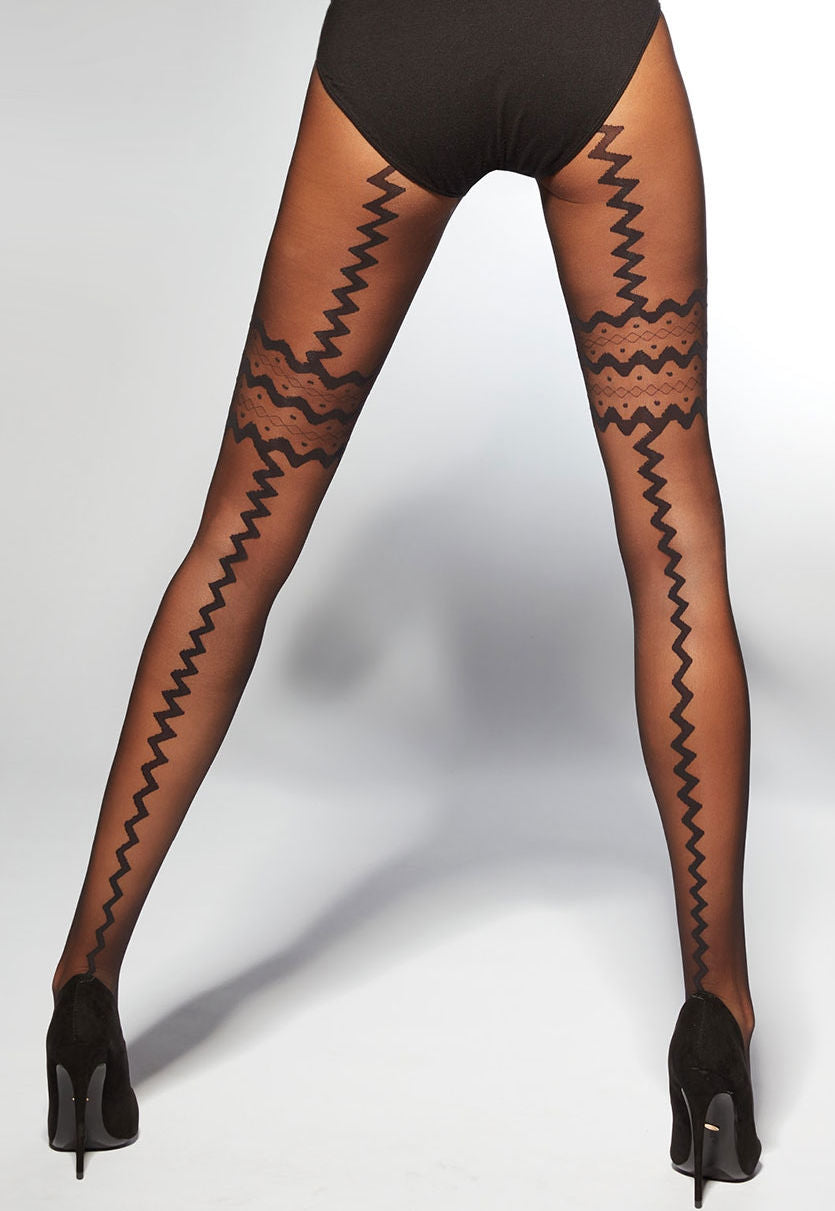 Carla Zigzag Seams & Suspenders Sheer Tights by Adrian in black
