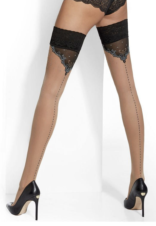 Cassandra Baroque Dotted Seams Sheer Hold-Ups by Adrian in nude tan with black grey
