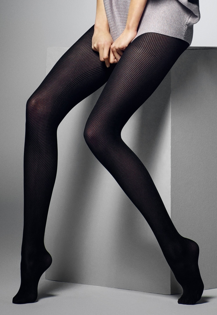 Charlotte Fine Dotted Opaque Tights by Veneziana in black