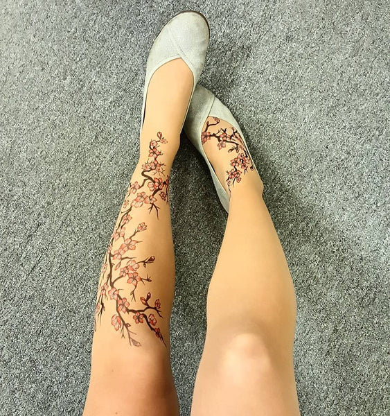 Cherry Blossoms Tattoo Printed Sheer Tights/Pantyhose