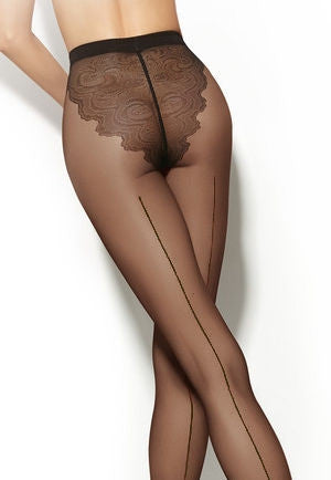 43c35b88dc6 Black Dahlia Floral Baroque Patterned Tights by Fiore · Chiara Backseam Lace  Brief Sheer Tights by Gatta
