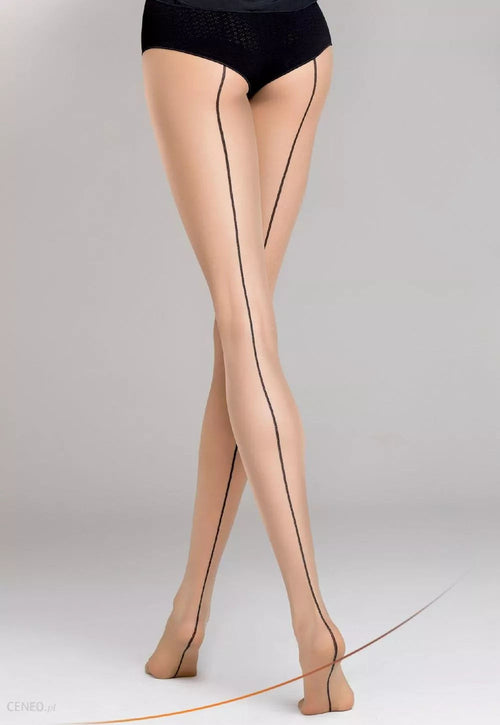 Chiara 05 Contrast Back Seam Sheer Tights by Gatta in black nude