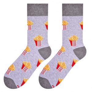 French Fries Socks in Light Grey by More