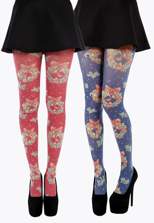 Christmas Wreath Patterned Tights by Pamela Mann