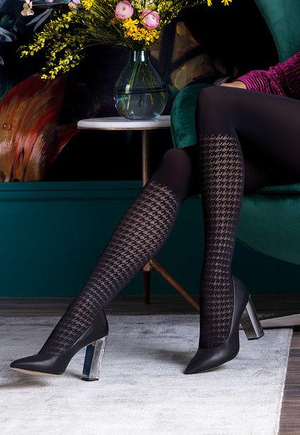 Cloe Knee-High Houndstooth Patterned Tights by Gabriella