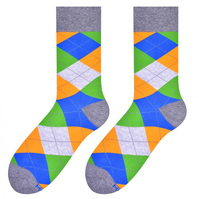 Colour & Squares Socks in Grey by More
