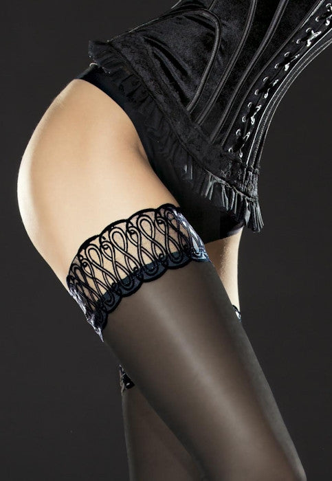 Contessa 40 Den Sheer Velvet Top Hold-Ups by Fiore