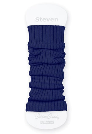 Ribbed Cotton Kids' Leg Warmers by Steven in cobalt cornflower blue